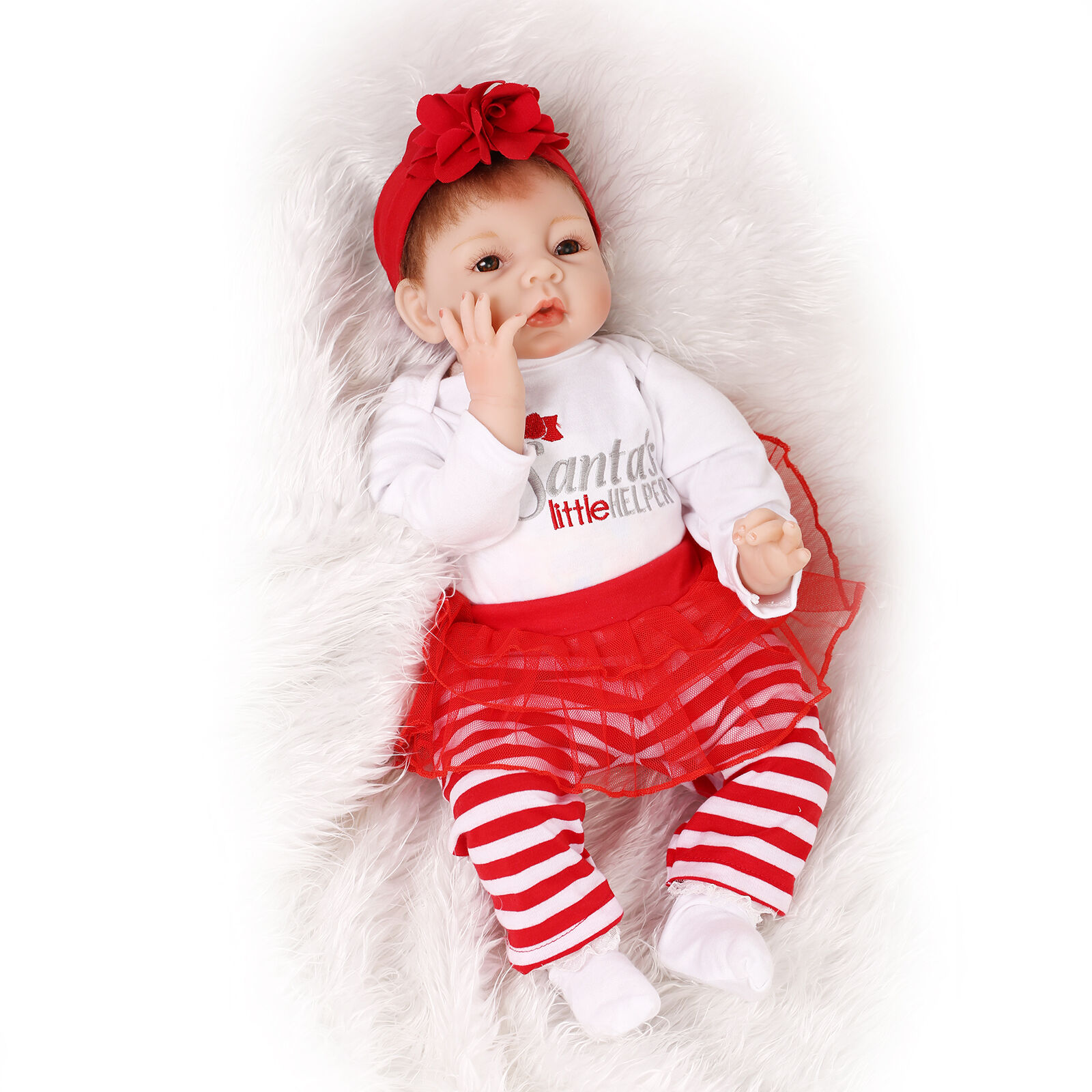 Nicery Reborn Baby Doll Soft Silicone Girl Toy 22in 55cm Red Santa