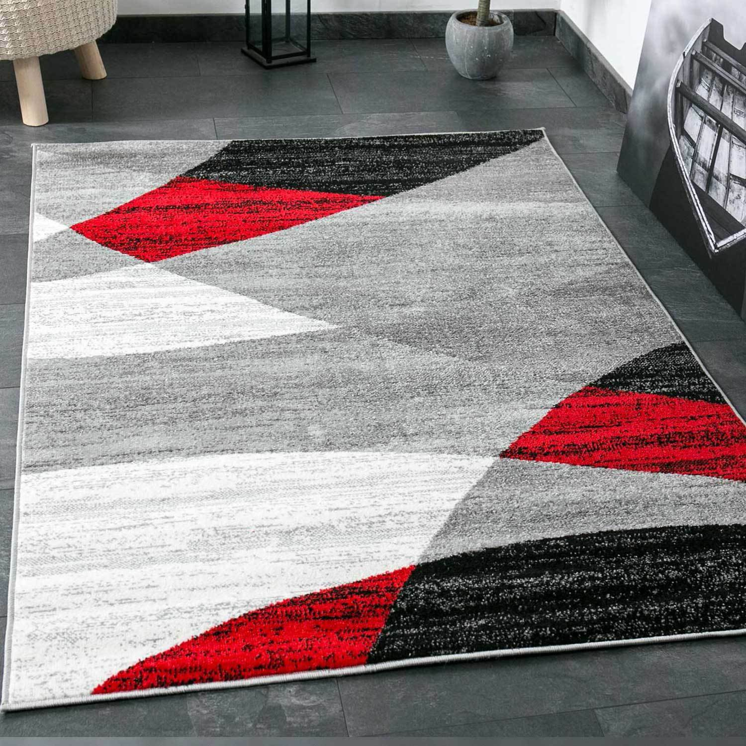 design salon tapis g om trique motif mouchet gris blanc noir rouge eur 26 46 picclick fr. Black Bedroom Furniture Sets. Home Design Ideas