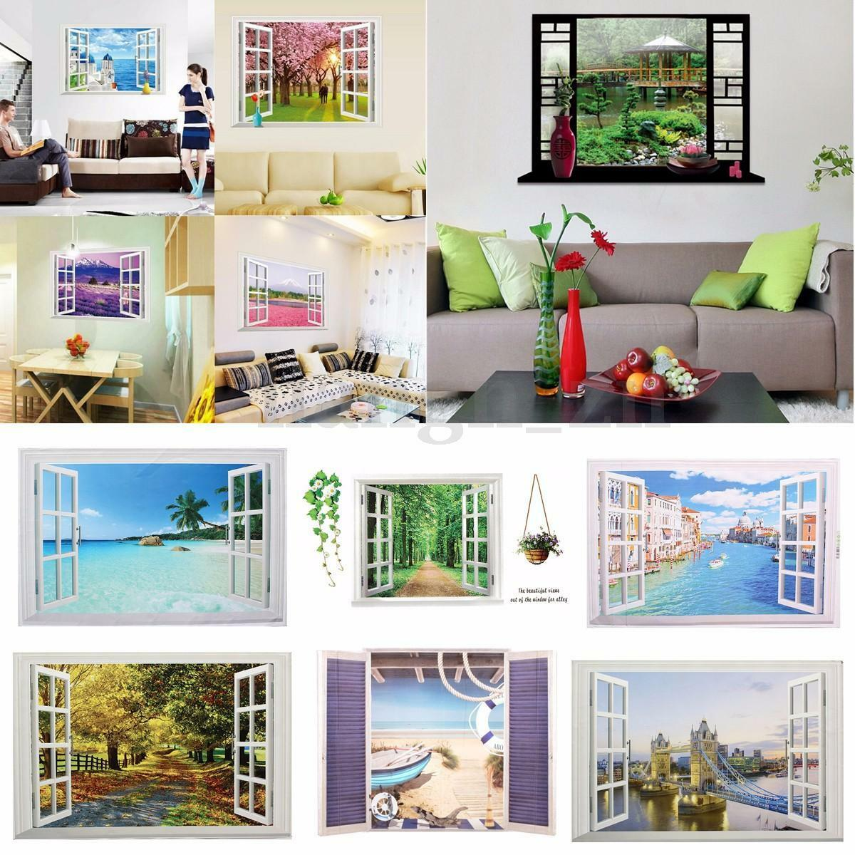 3d sticker muraux fen tre vue autocollant adh sif for Decoration adhesif fenetre