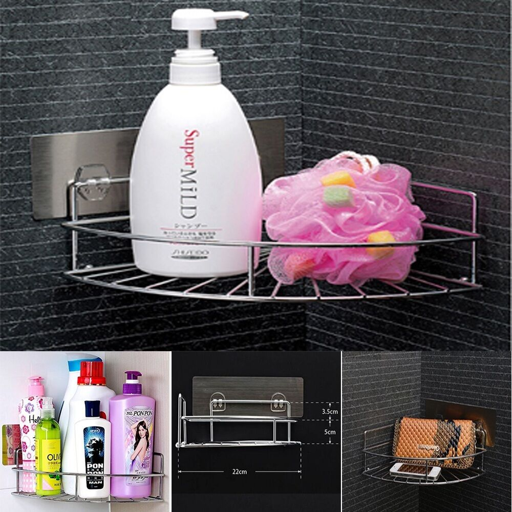 CHROME STRONG BATHROOM Caddy Corner Shampoo Soap Holder Organizer ...