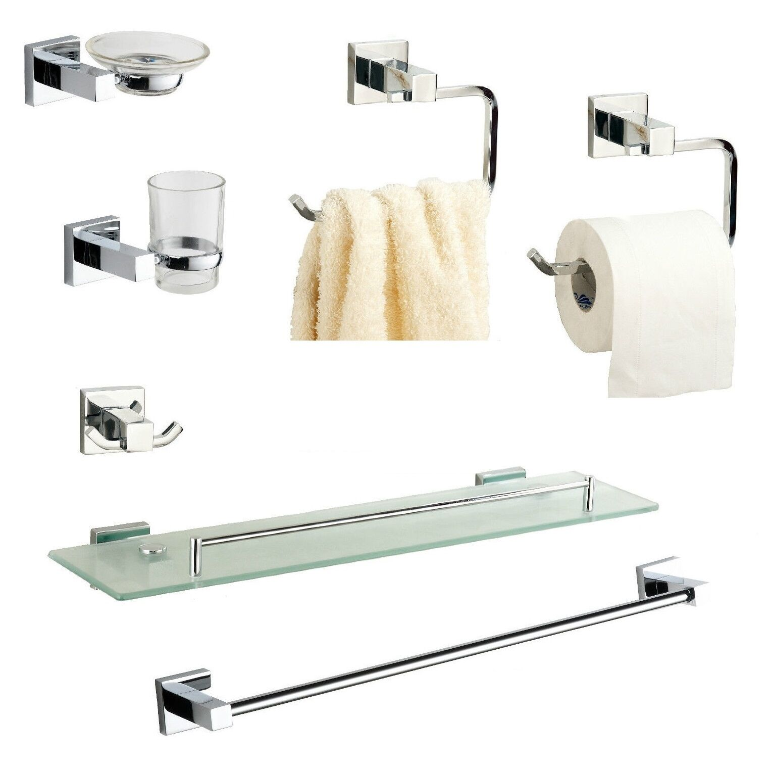 BATHROOM ACCESSORIES, CHROME Square Cubic Style Wall Mounted Fittings Included - £6.39