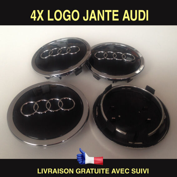audi 4 logo centre de roue jante cache moyeu badge embleme 69mm a3 a4 a5 a6 a7 eur 19 00. Black Bedroom Furniture Sets. Home Design Ideas
