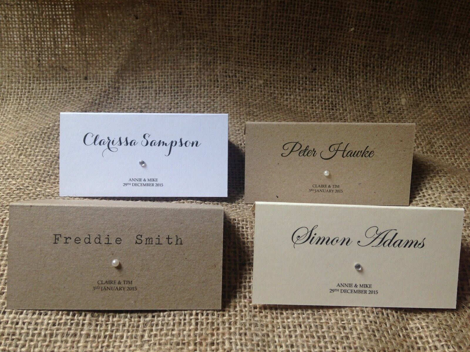 Personalised wedding place cards name cards white ivory for Wedding place name cards