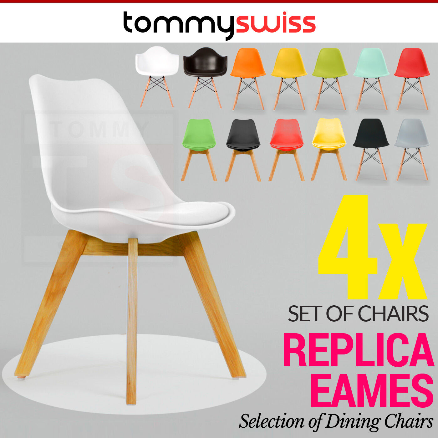 4x retro replica eames eiffel dsw padded dining chair daw armchair cafe office. Black Bedroom Furniture Sets. Home Design Ideas
