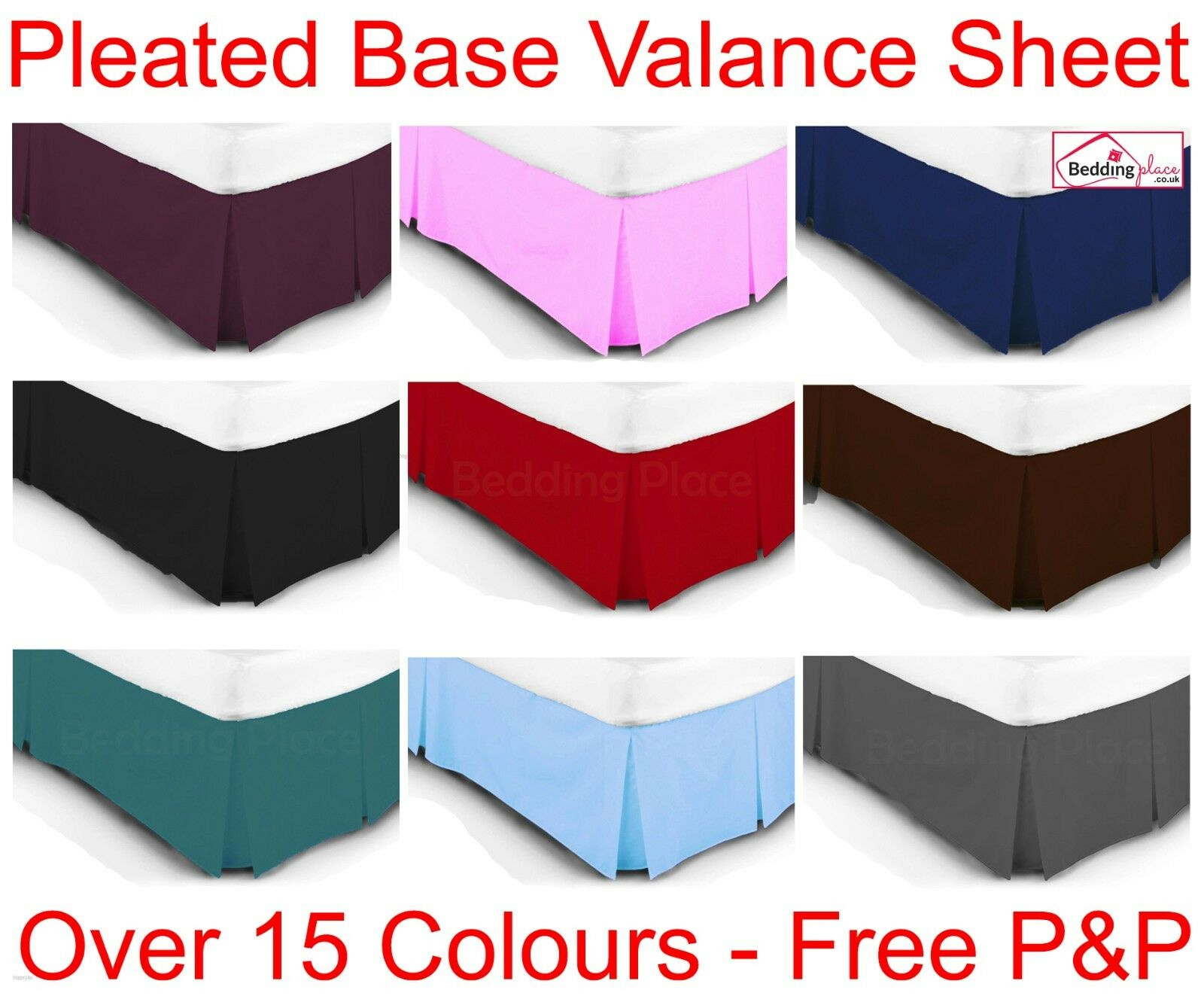 luxury plain dyed poly cotton platform base valance box pleated sheet all sizes. Black Bedroom Furniture Sets. Home Design Ideas