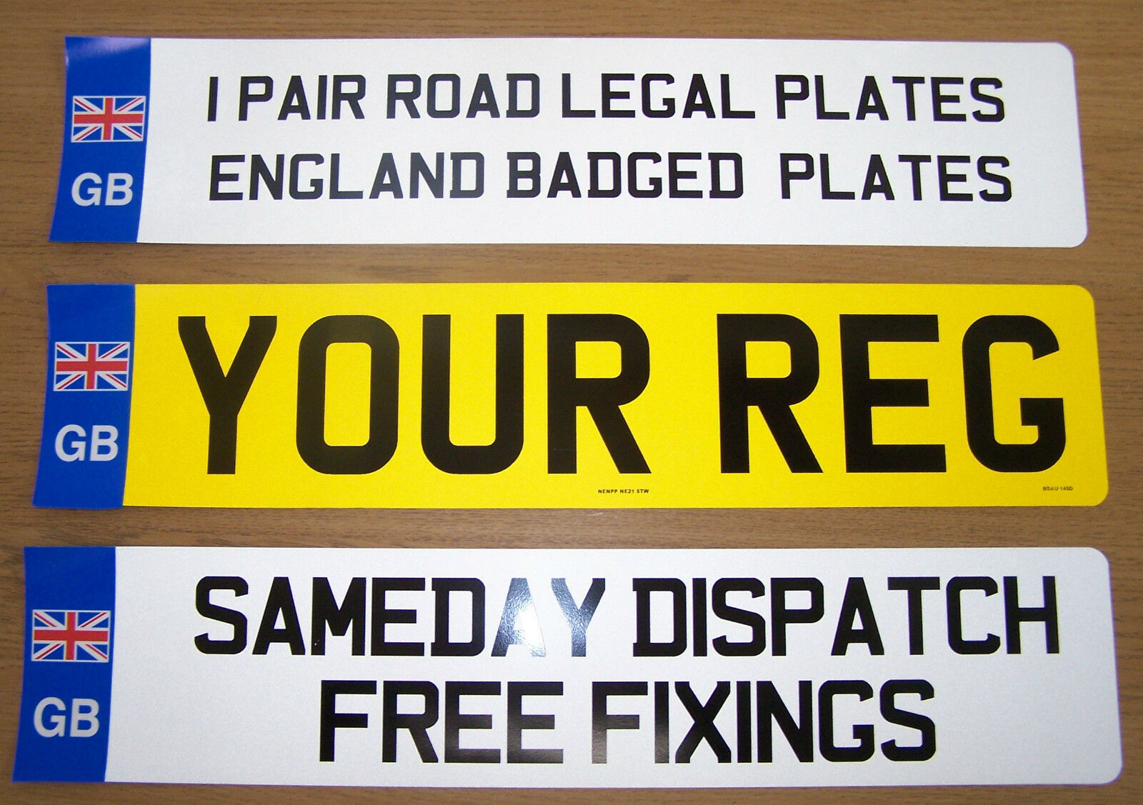 CAR Number Plates 1 Pair Registration Plates With Union Jack Badge ...