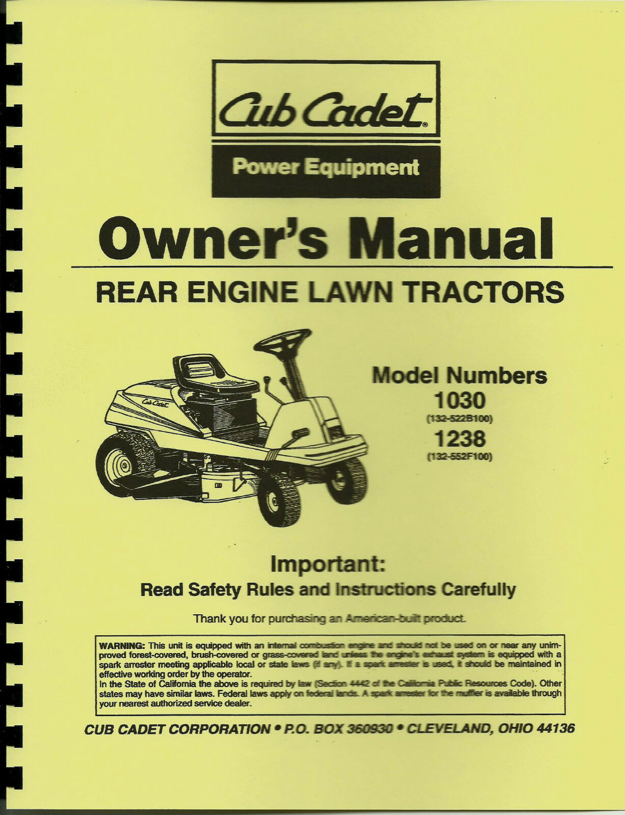 Cub Cadet 1030 & 1238 Tractor Manual Includes Parts List 1 of 1 See More