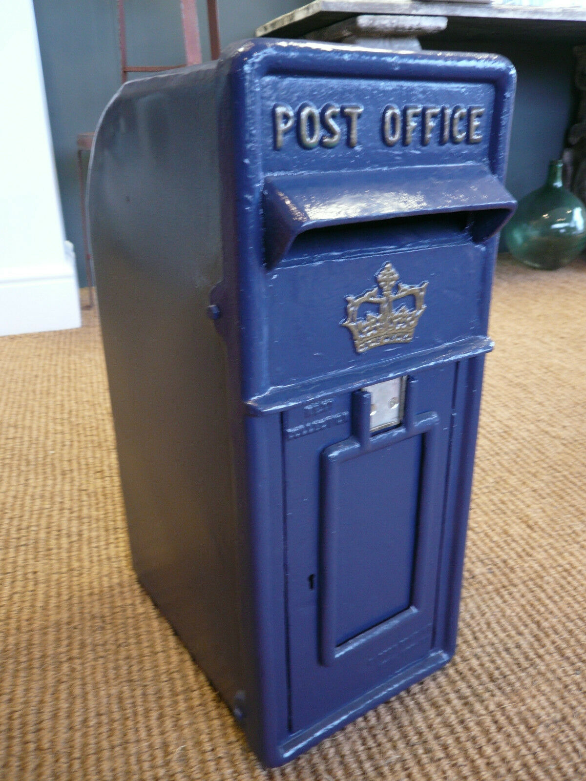 Royal Mail Cast Iron Post Box in Scottish Blue in royal Mail Style