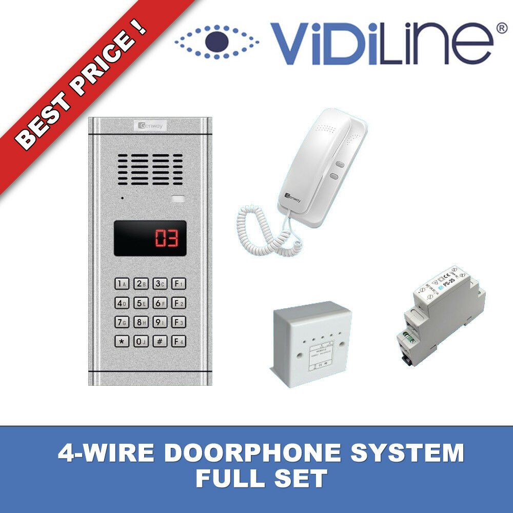 4-WIRE DOORPHONE SYSTEM FULL SET UNIPHONE KIT GENWAY WL-03NL NEW ...