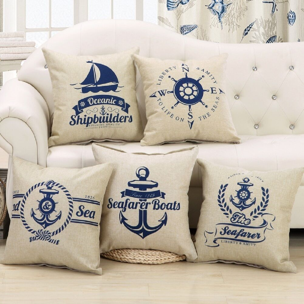kissenbez ge blau maritim muster 45cm 45cm sofa deko motive kissen kissenh llen eur 4 00. Black Bedroom Furniture Sets. Home Design Ideas