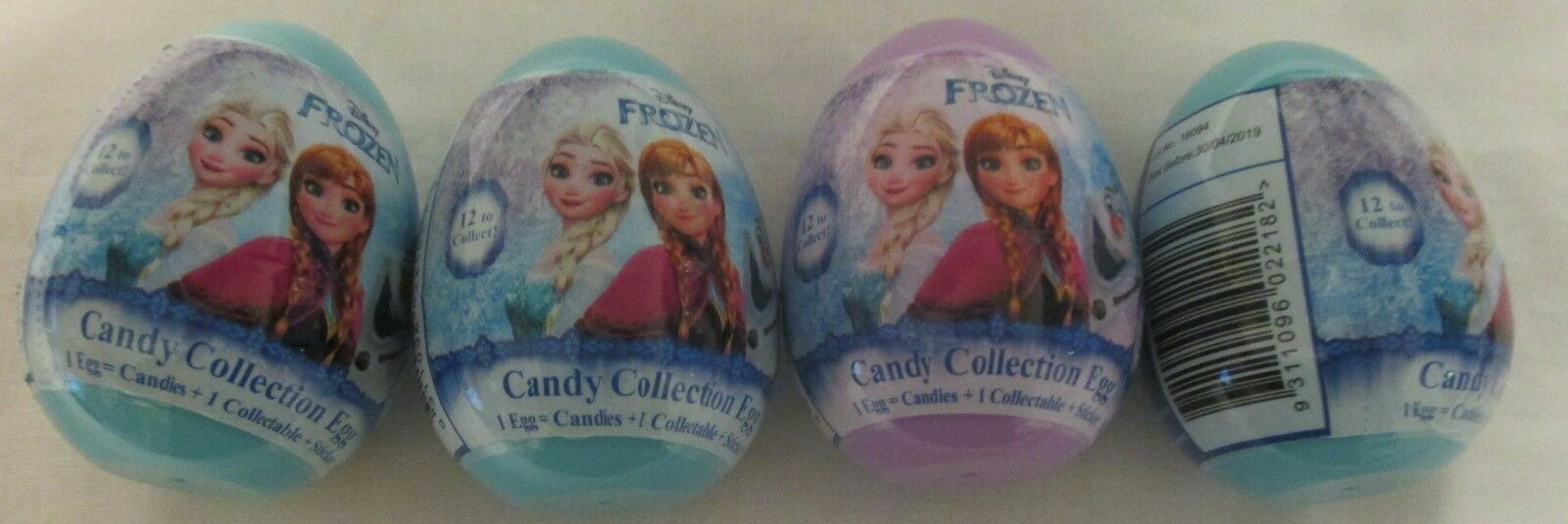 904713 x4 10g DISNEY FROZEN CANDY COLLECTION EGGS WITH STICKERS - NOVELTY IDEA