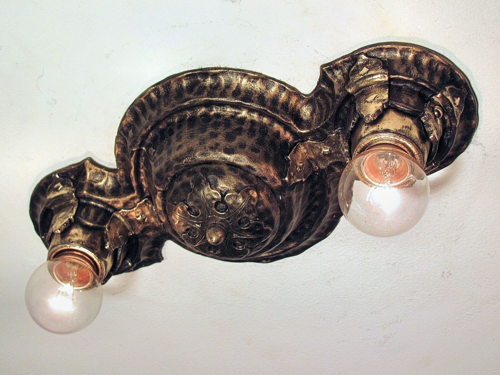 Professionally Restored Antique Hammered Gothic Arts and Crafts Light Fixture