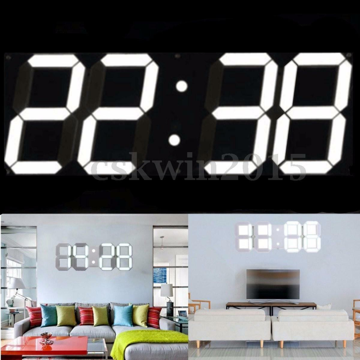 led squelette horloge murale affichage digitale eclairage 24 12 heure 3d display eur 46 89. Black Bedroom Furniture Sets. Home Design Ideas