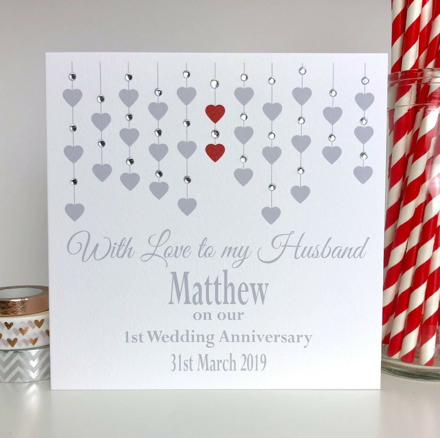 Personalised Handmade Wedding Anniversary Card Husband Wife 1st First 10th 25th 1 Of 1free Shipping