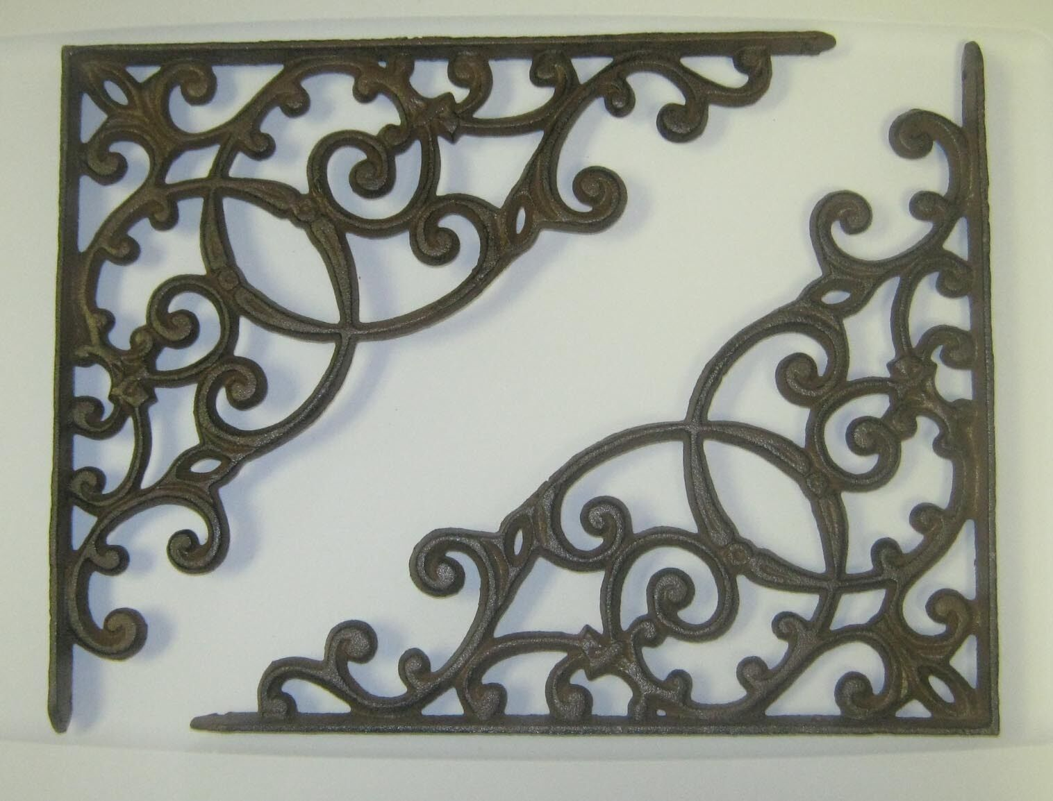 "set of 2 antique style X-Large Cast Iron Shelf Brackets 12-3/4"" x 11-1/4"" #57"