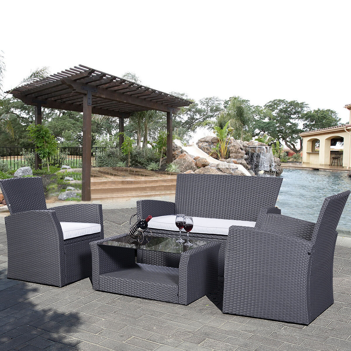 4pc rattan sofa dining set garden furniture patio. Black Bedroom Furniture Sets. Home Design Ideas