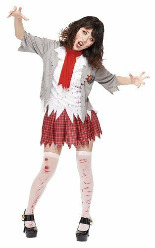 womens teen girls zombie school girl halloween costume standard up to size 12 1 of 1only 3 available