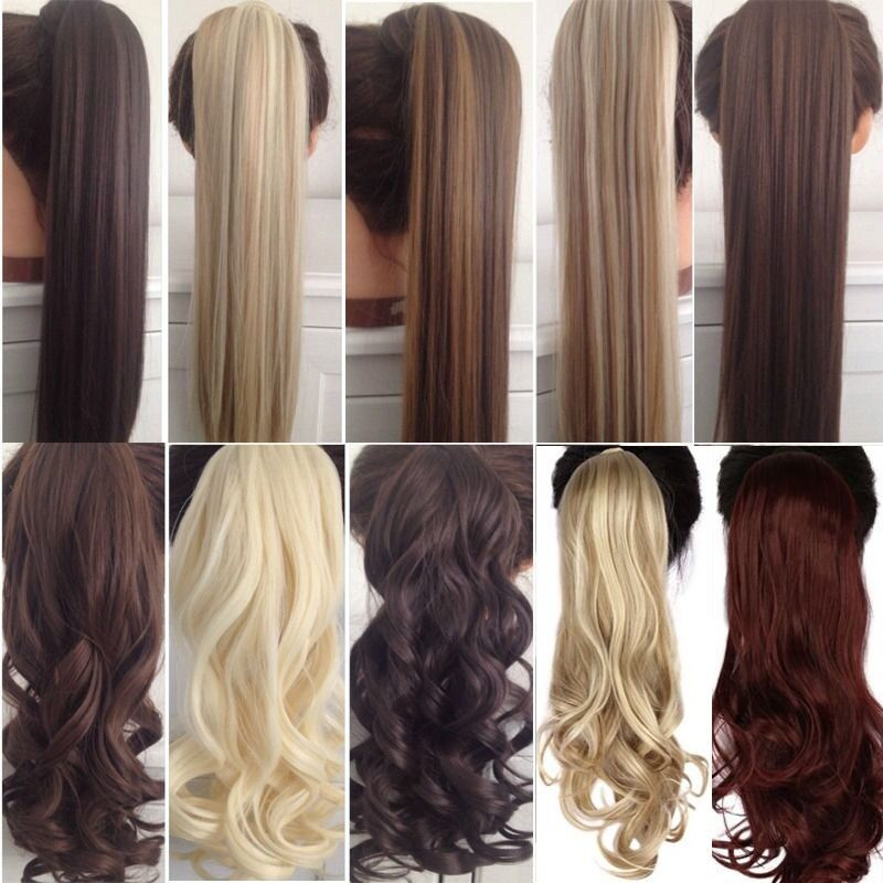 Us Clip In Hair Extensions Deluxe Thick Ponytail Wrap Around Pony
