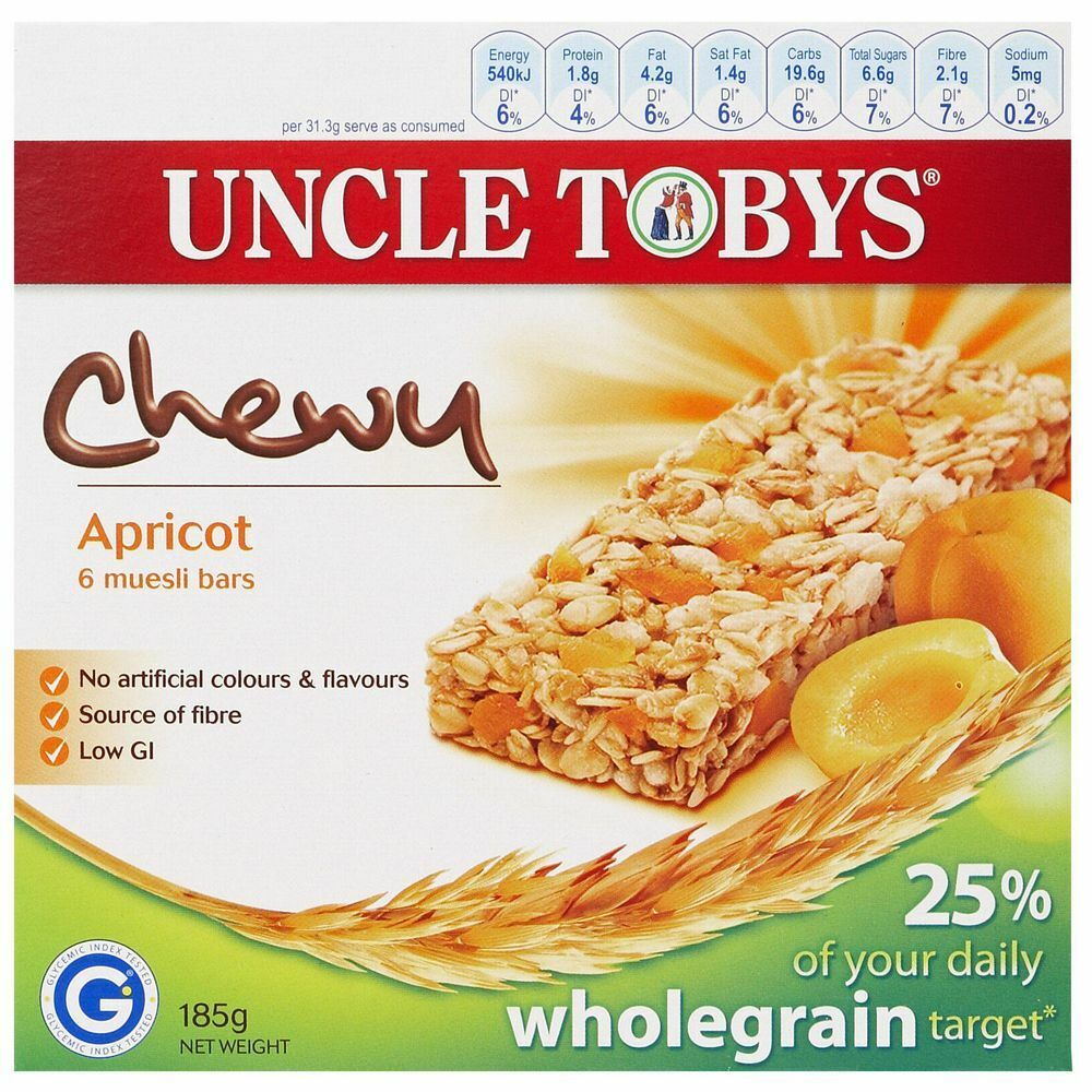 Uncle Tobys Chewy Apricot Muesli Bars 6 Pack