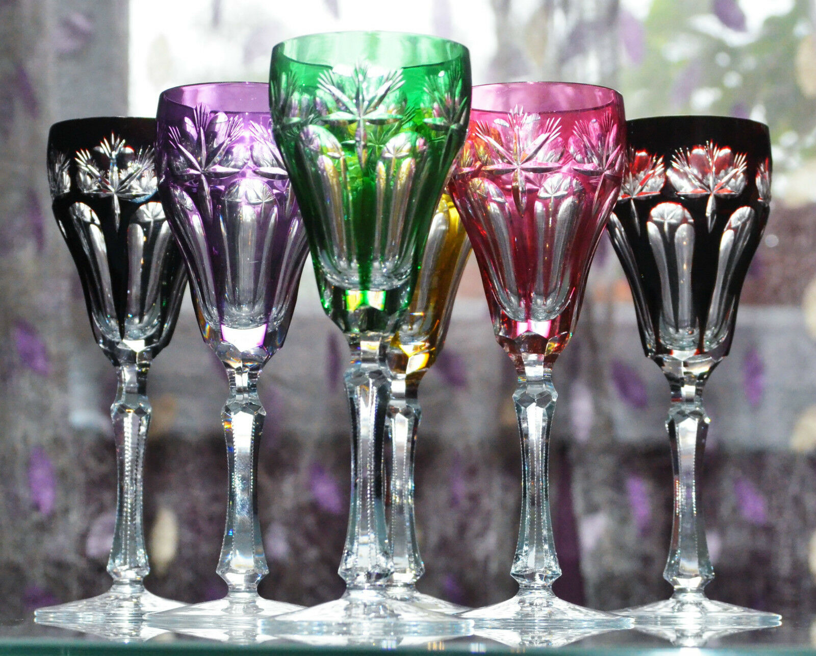 ancien 6 verres flute a champagne cristal couleur double. Black Bedroom Furniture Sets. Home Design Ideas