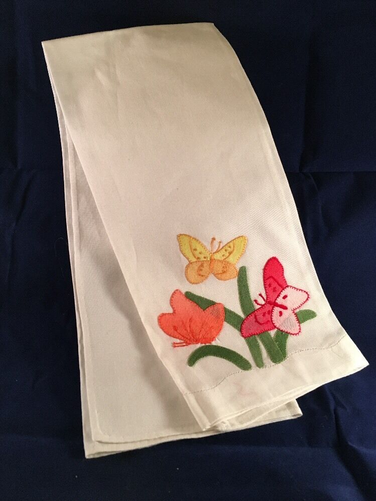 Vintage Cotton Kitchen Towel Appliqued And Embroidered Hand Made Butterflies Picclick