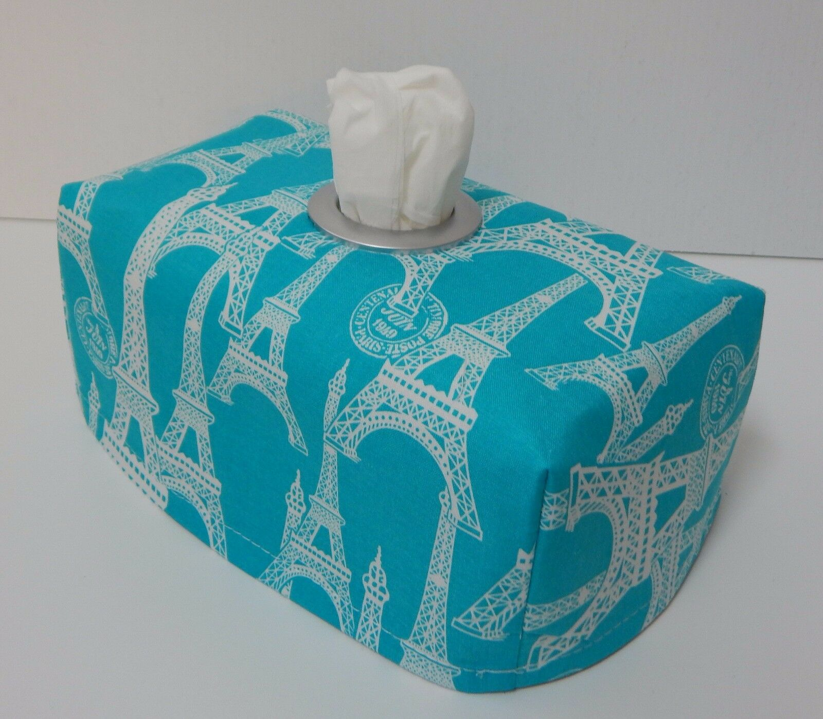 Eiffel Tower Aqua Tissue Box Cover With Circle Opening Lovely Gift 1 Of 1only 4 Available See More
