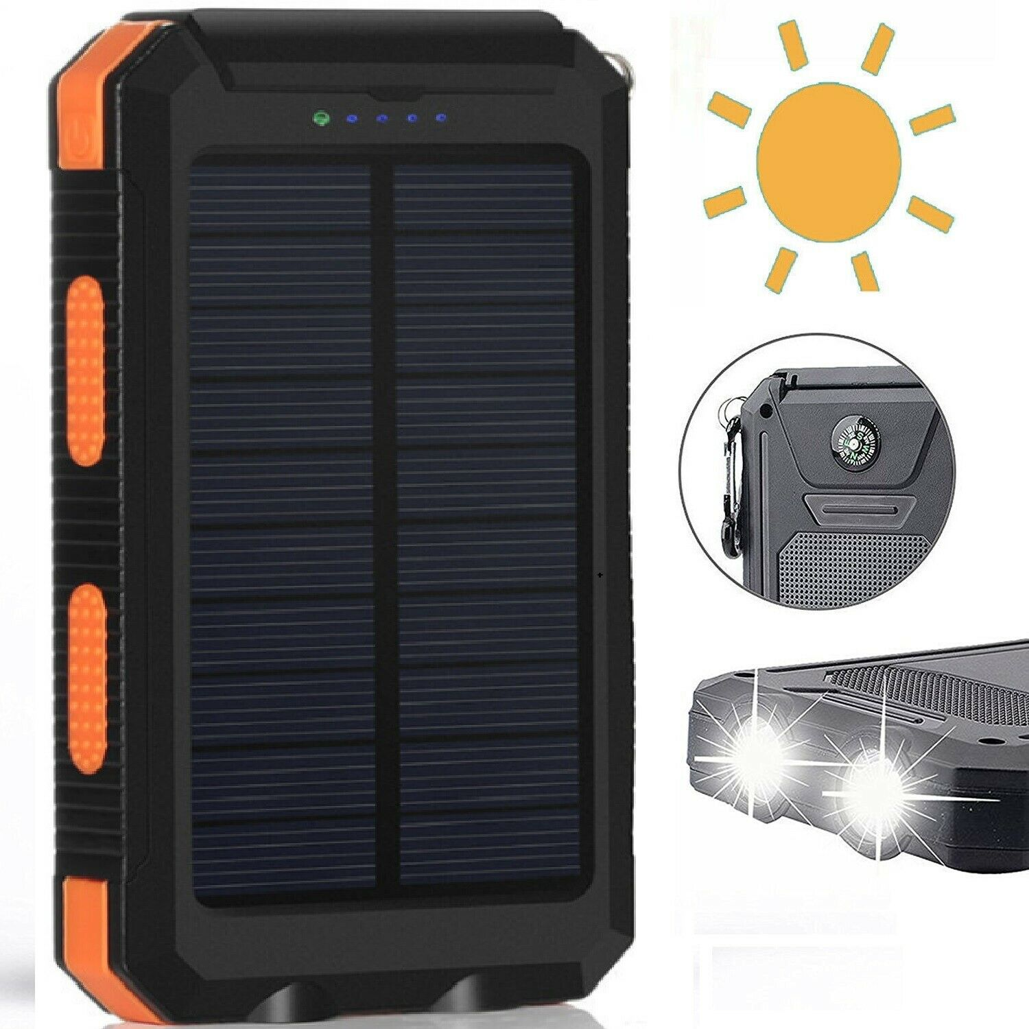 Waterproof Solar Power Bank 500000mah Portable Battery Charger Red Original Anker Micro Usb 10ft 1 Of 4free Shipping