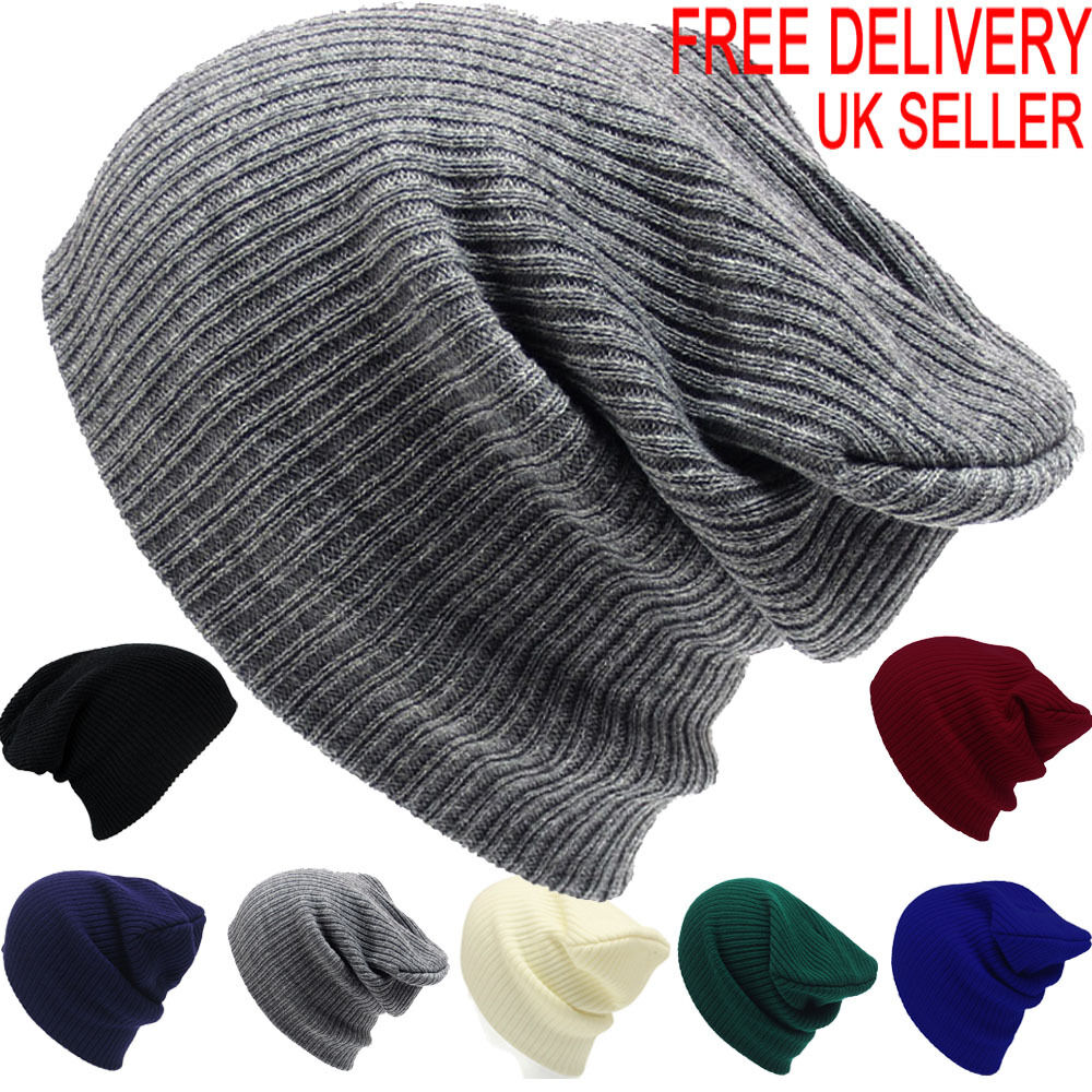 Knitting Pattern For Mens Oversized Beanie : Mens Ladies Knitted Woolly Winter Oversized Slouch Beanie ...