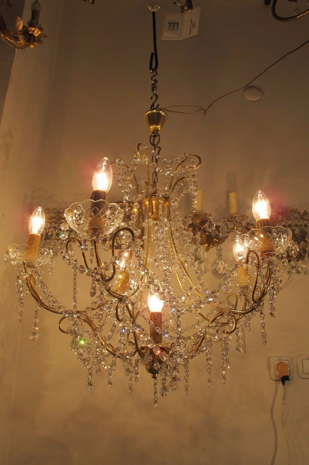 Vintage 6 lamps Austrian Real Swarovski Crystal Chandelier 1960's 26in diameter