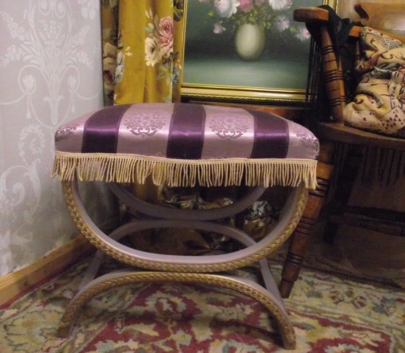 Vintage Purple & Gold Tasselled Dressing Table/bedroom Stool Lloyd Loom Style