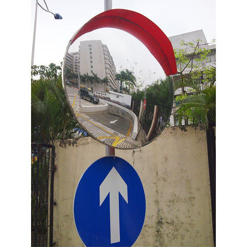 Wide angle convex road mirror 80 cm traffic safety visor for Mirror 80cm wide
