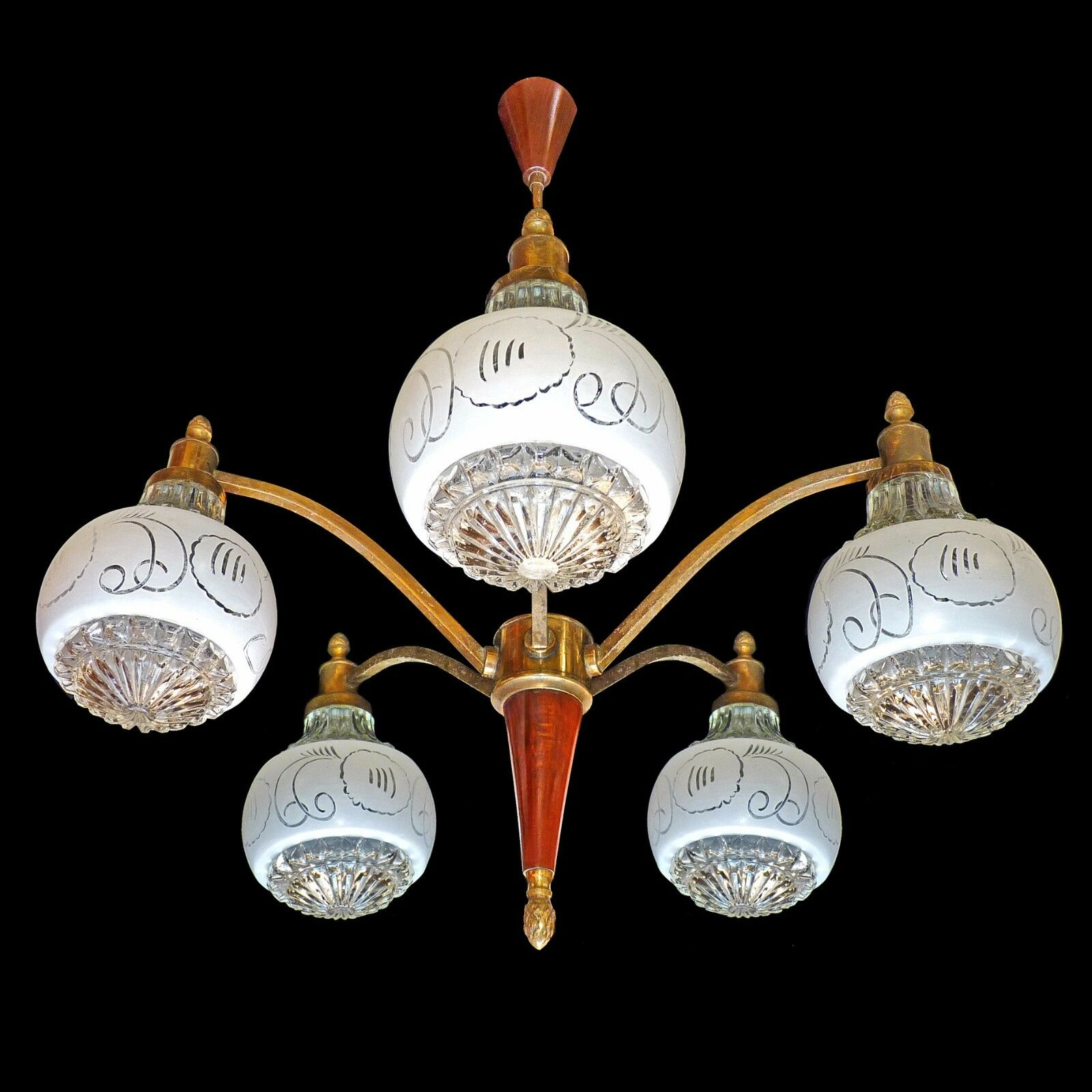 Antique 1950 French Art-Deco Wood/ Brass/Clear and Opaline Art Glass Chandelier