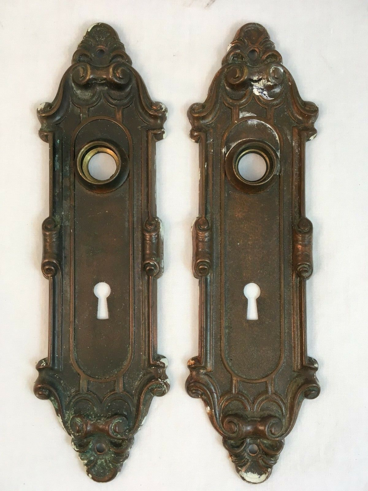 Pair 1900s Antique Brass Victorian Escutcheons Yale & Towne Door Knob Backplates
