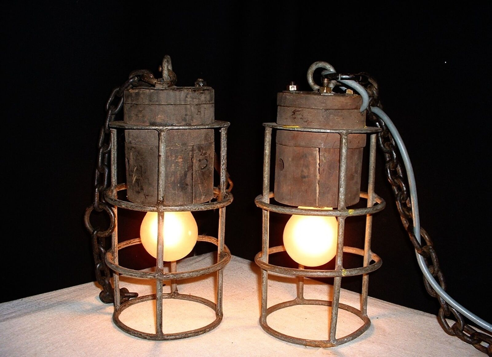 Vintage pair French iron wood industrial chandelier lamp