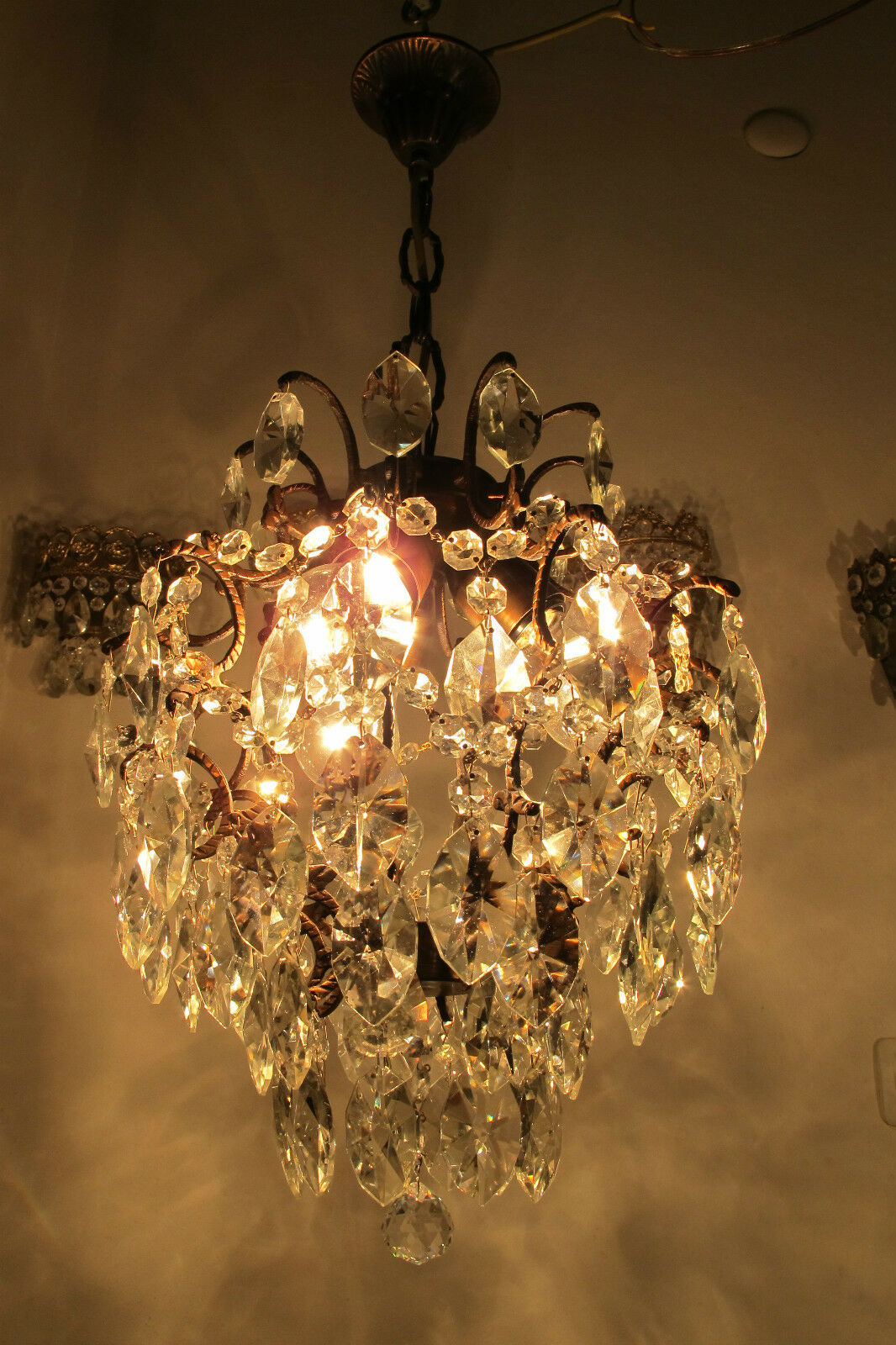 Antique Vnt French Cage Style Czech Crystal Chandelier Lamp Light 1940s 14in dia