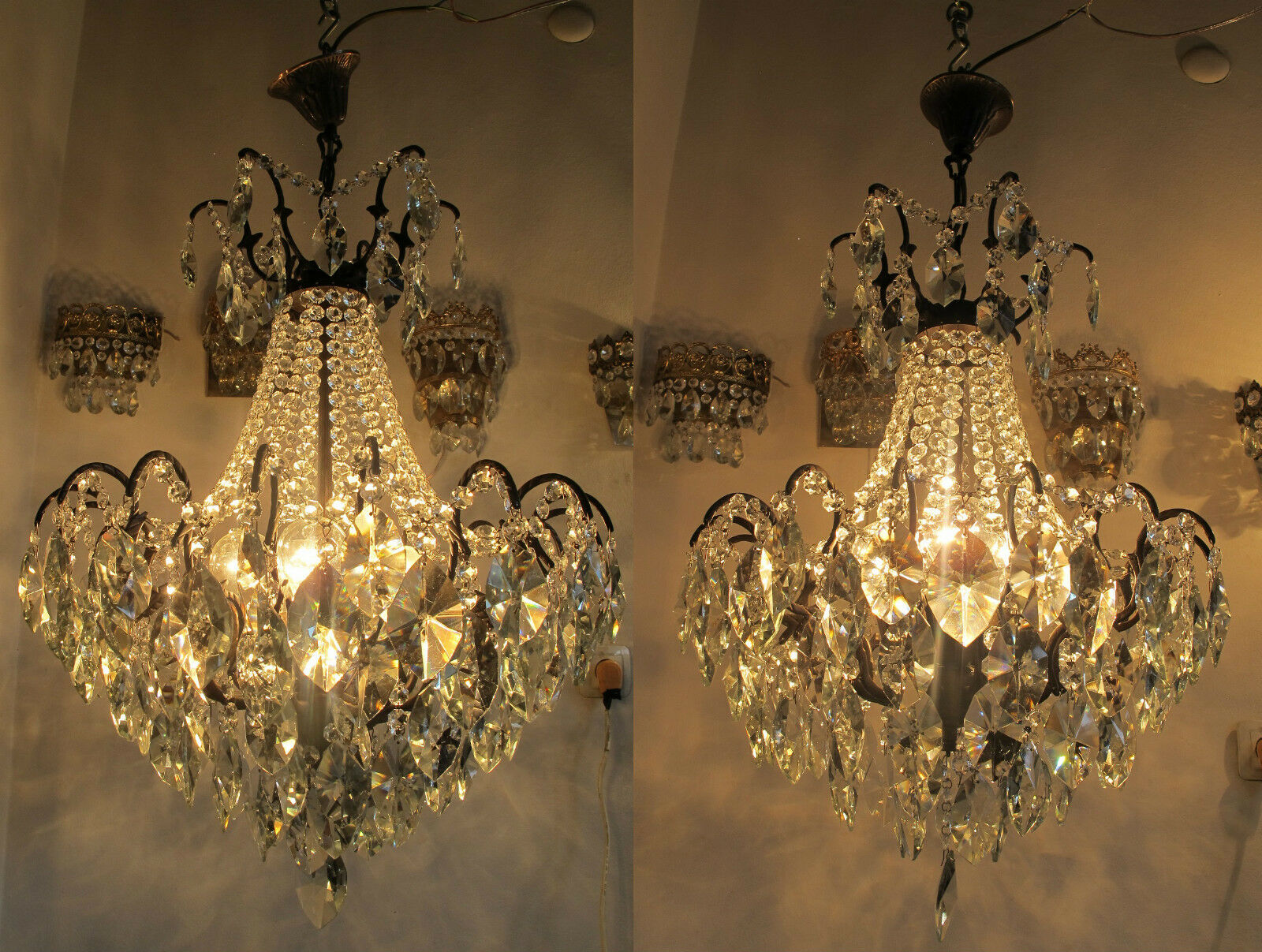 A Pair of Antique Vnt French Huge Spider Style Crystal Chandelier Lamp 1940s