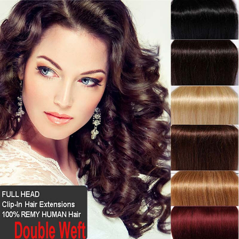 Double Weft Clip In Remy Human Hair Extensions Full Head Thick Diy