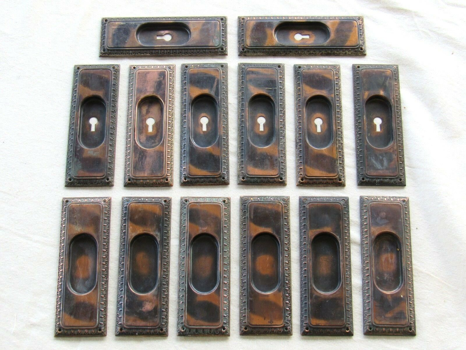 1 Pair of Antique Japanned Egg and Dart Pocket Door Pulls Handles (7 Available)