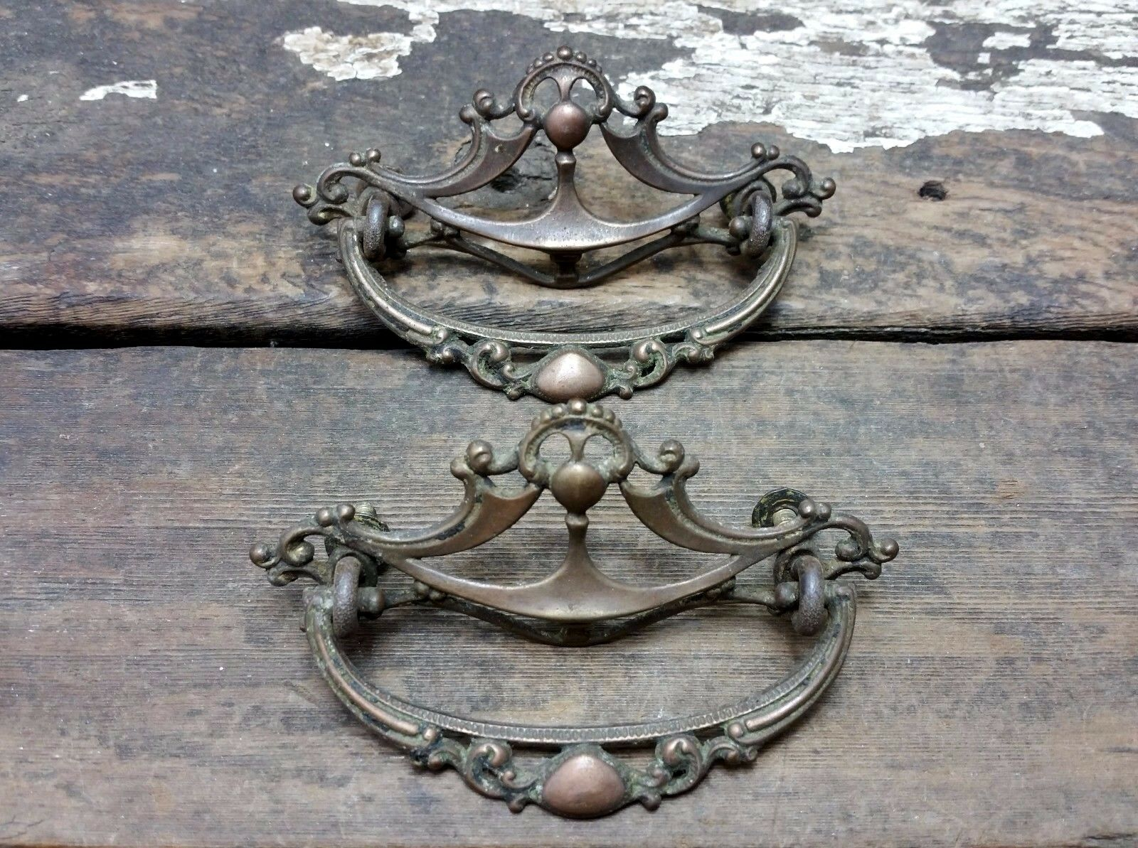 2 VTG Old FANCY Ornate Deco Victorian Cast BRASS Pull Handle Drawer Dresser .