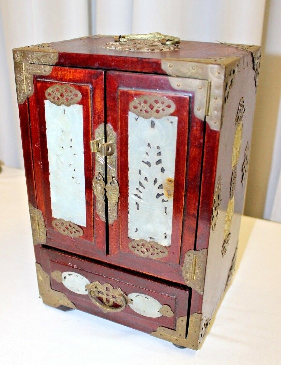 Chinese antique vintage wooden jewelry accessory box w for Asian antiques uk