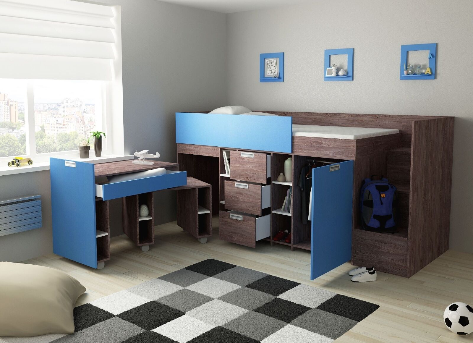 hochbett berg indigo halbhochbett kinderbett etagenbett kinderzimmer 90x200 eur 849 00. Black Bedroom Furniture Sets. Home Design Ideas