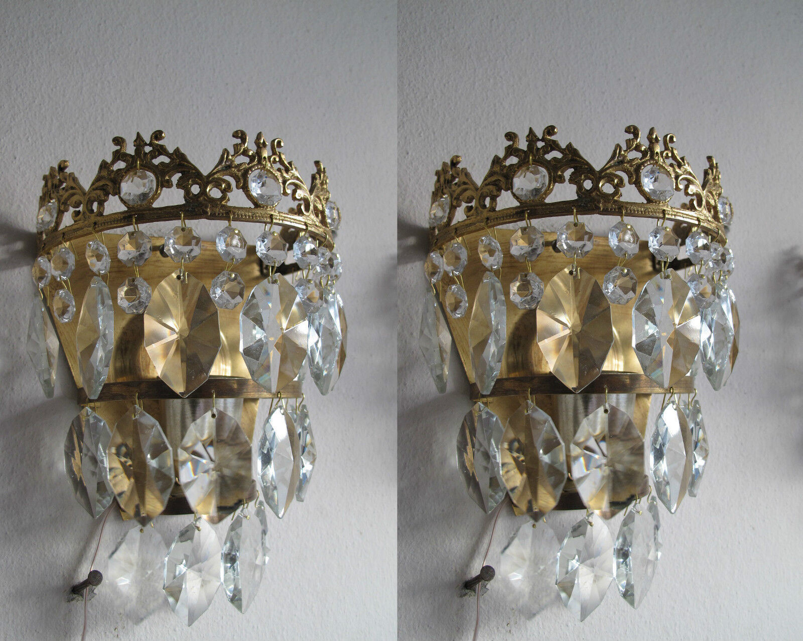 Pair of Antique  Crystal Wall Sconce Aplique 1940s--