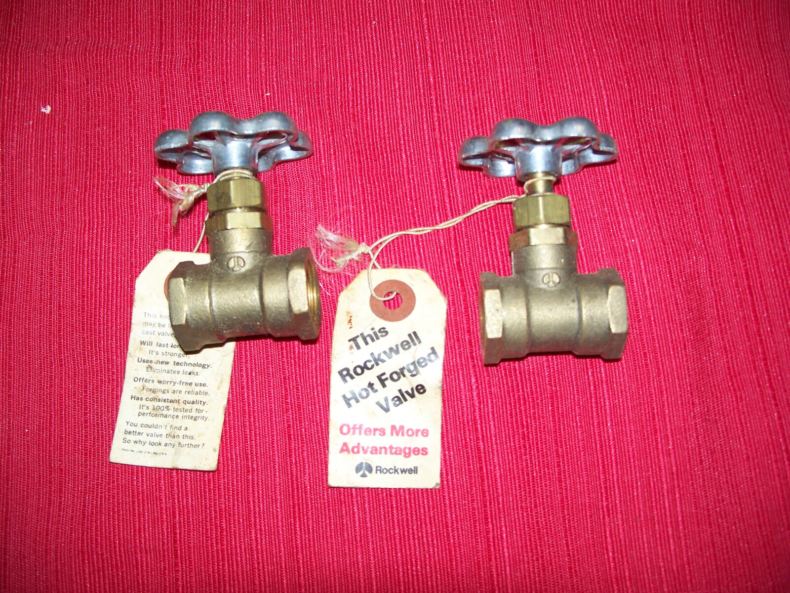 2 Vintage Brass 3/4 inch Valve Steampunk New Rockwell with Tags