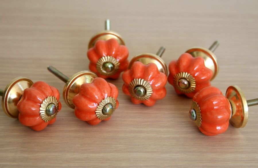 Lot Of 6 Vintage Style Orange Ceramic & Brass Spigot Drawer Pulls Knobs Handles