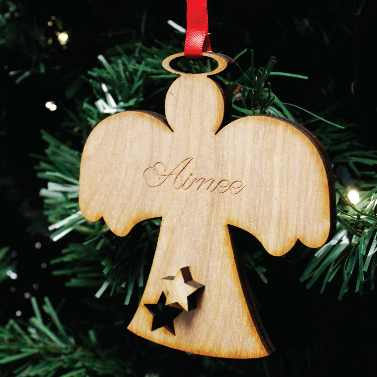 Personalised angel christmas tree decoration engraved for Angel christmas tree decoration