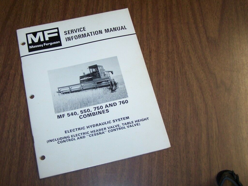 Massey Ferguson Mf 540 550 750 760 Combine Hydraulic Service Information  Manual 1 of 1Only 1 available ...