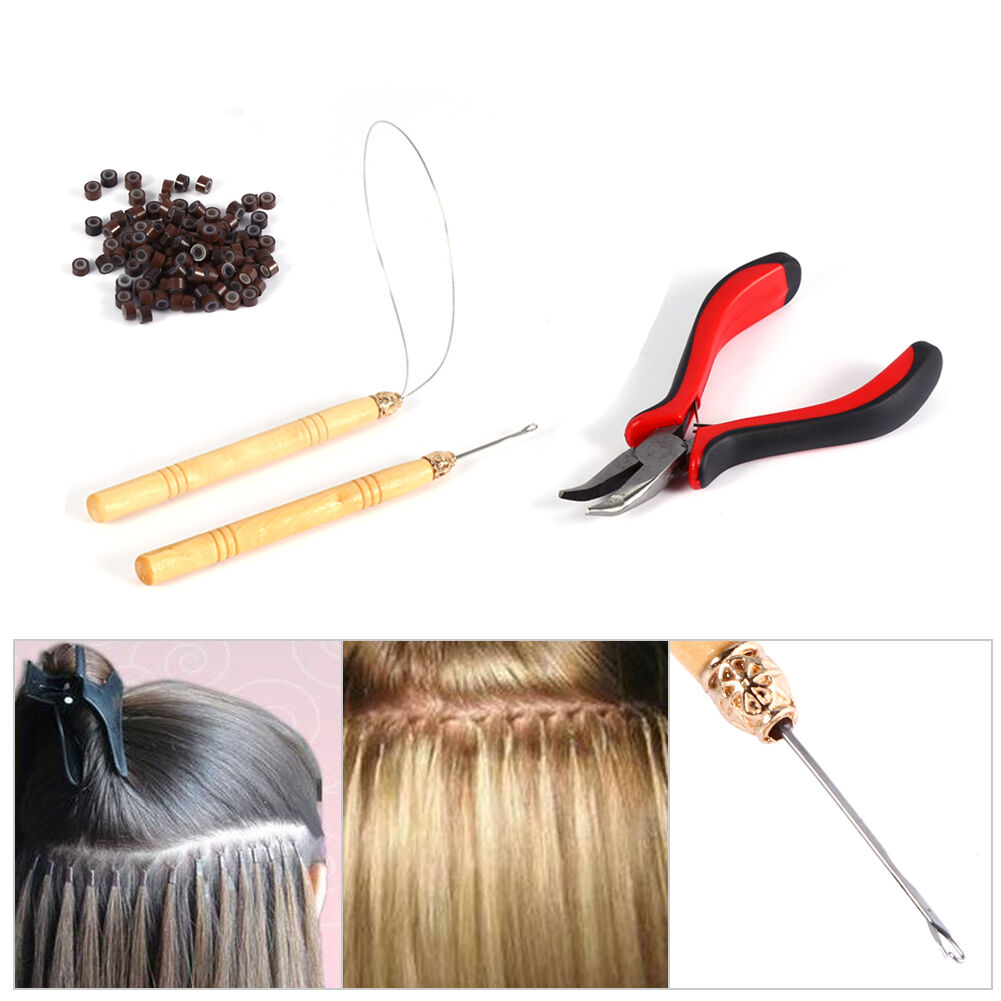 Pro Silicone Micro Rings Beads Feather Hair Extension Tools Set