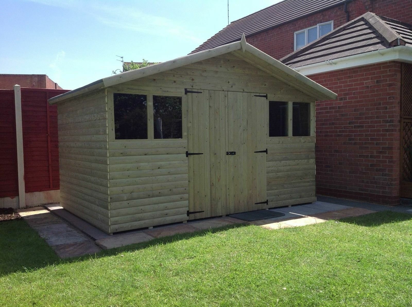12x10 reverse loglap t g apex shed 1 picclick uk for Garden shed 12x10