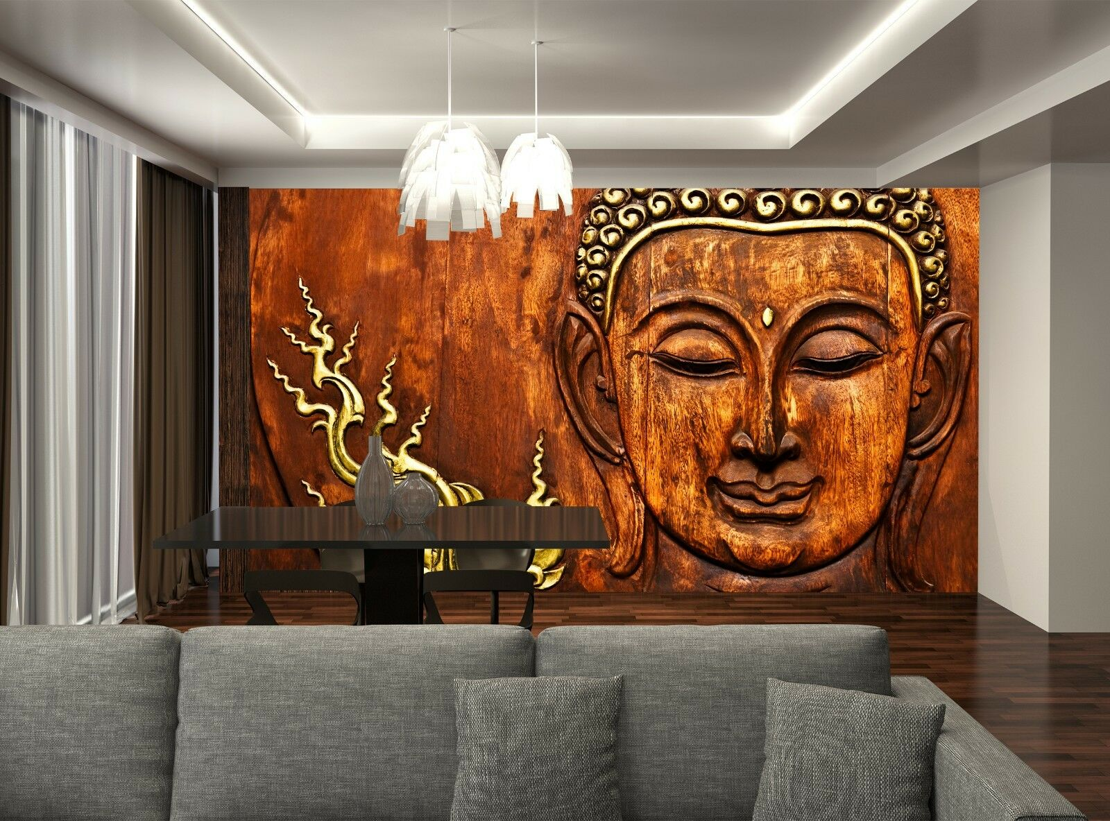 Buddha wood carving wall mural photo wallpaper giant wall for Mural on wood