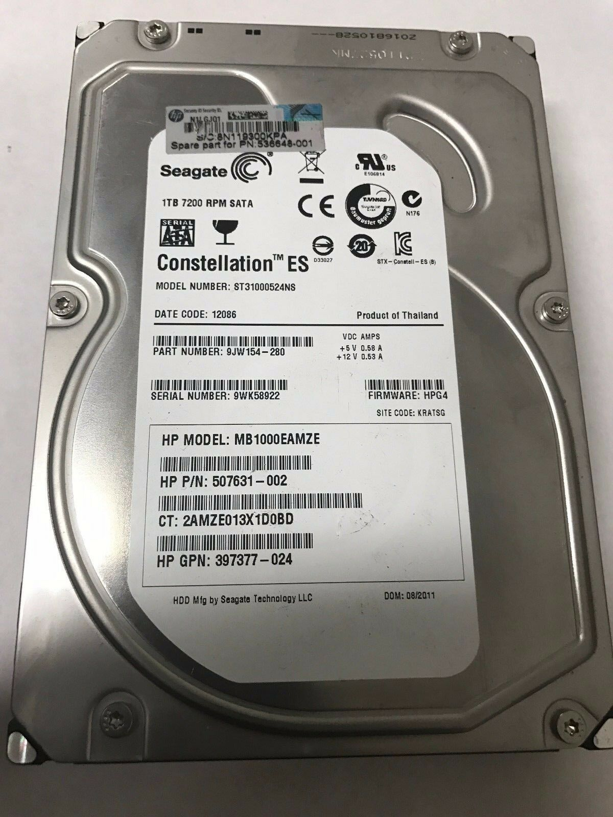 St31000524ns 9jw154 280 Fw Hpg3 Seagate 1tb Sata 35 Hp 50763 002 Firecuda Inch 2tb Sshd 5 Years Warranty Hddssd For Pc Gaming 1 Of See More